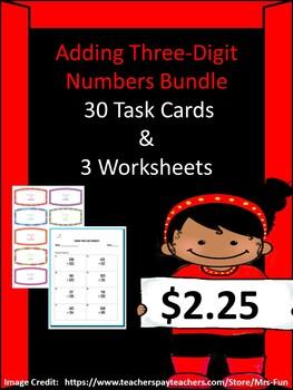Adding Three-Digit Numbers Bundle (30 Task Cards & 3 Worksheets)