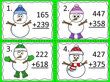 Adding Three Digit Numbers with Regrouping:  Snowman Theme