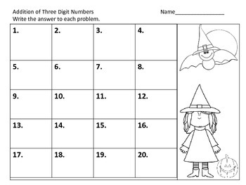 Adding Three Digit Numbers with and without Regrouping--Halloween Theme