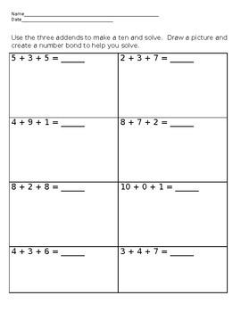 Adding Three Digits to Make Ten