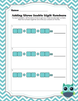 Adding Three Double Digit Numbers Dice Game