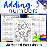 Adding Three Numbers (Add 3 Numbers) Worksheets / Printables - Make Ten First