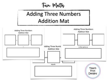 Adding Three Numbers Mat