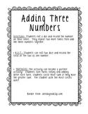 Adding Three Numbers Partner Activity