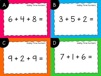 Adding Three Numbers Task Cards {Digital}