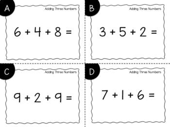 Adding Three Numbers Task Cards {Print & Go + Digital}