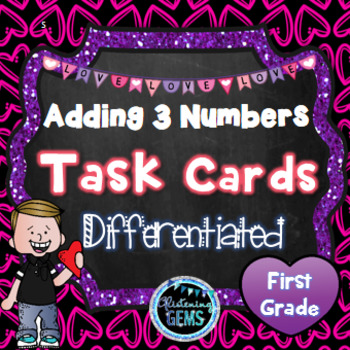 Valentine's Day Adding Three Numbers Task Cards