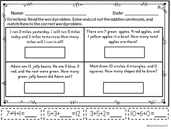 Adding Three Numbers: Word Problems  1.OA.A.2 Common Core First Grade Math
