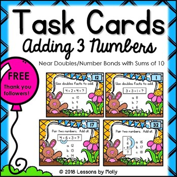 Adding Three Numbers with Near Doubles and Number Bonds Sums of Ten Task Cards