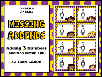 Adding 2-Digit Numbers - Find the Unknown