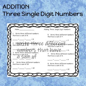 Addition Three Single Digit Numbers