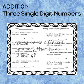 Addition Worksheets Three Single Digit Numbers