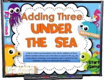 Adding Three Under the Sea Smart Board Game