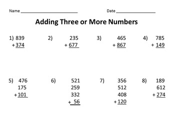 Adding Three or More Numbers