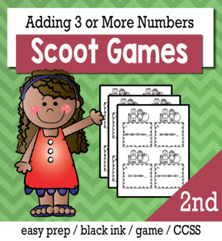 Adding Three or More Numbers - Scoot Game/Task Cards