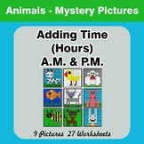Adding Time (Hours) A.M. & P.M - Animals Color By Number