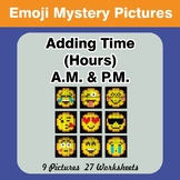 Adding Time (Hours) A.M. & P.M - Emoji Color By Number