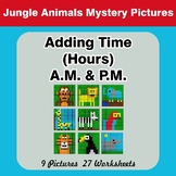 Adding Time (Hours) A.M. & P.M - Jungle Animals Color By Number
