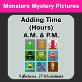 Adding Time (Hours) A.M. & P.M - Monsters Color By Number
