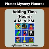 Adding Time (Hours) A.M. & P.M - Pirates Color By Number