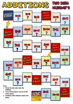 Adding Two 2 Digit Numbers Together - Boardgame