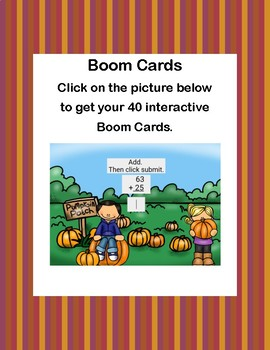 Adding Two 2-digit Numbers- No Regrouping -Boom Cards-Pumpkin Patch