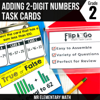 Adding Two Digit Numbers - 2nd Grade Math Flip and Go Cards