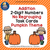 Pumpkin Themed Task Cards for Adding Two-Digit Numbers with no Regrouping