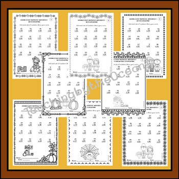 Adding Two Digit Numbers Worksheets - Fall Themed