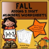 Adding 2 Digit Numbers Worksheets - Fall Themed