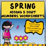 Adding Two Digit Numbers Worksheets - Spring Themed