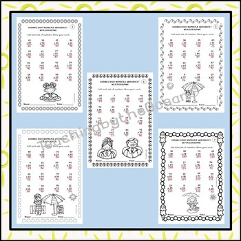 Adding Two Digit Numbers Worksheets - Summer Themed