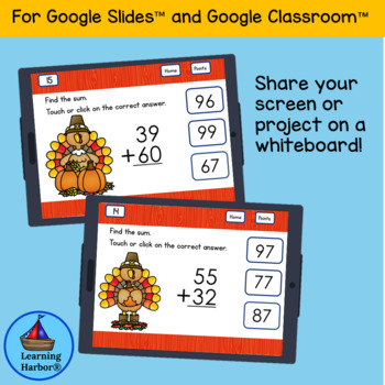 Adding Two Digit Numbers for use with Google Slides™ Turkey Theme