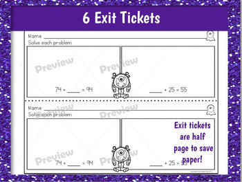 Adding Multiples of Ten Review Game, Exit Tickets, and Worksheets
