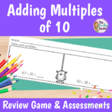 Adding Tens to a Two Digit Number Worksheets, Review Game, and Exit Tickets