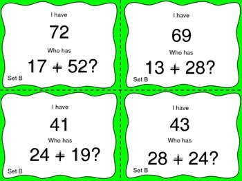 Adding Two Digit Numbers with Regrouping--I Have, Who Has? Game