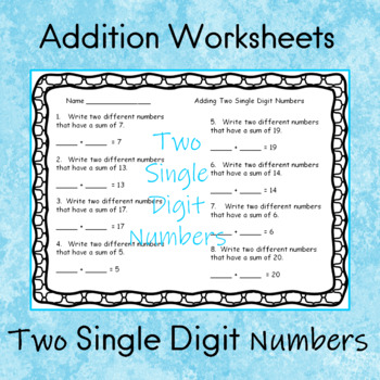 Addition    Adding Two Single Digit Numbers