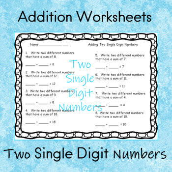 Addition Worksheets    Adding Two Single Digit Numbers