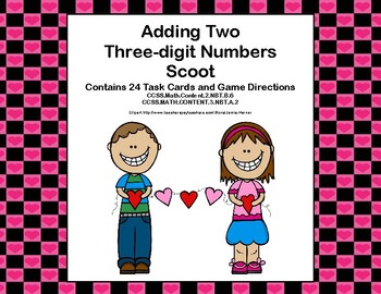 Adding Two Three-digit Numbers -Task Cards and Scoot-Valentine's Day-Grades 2-3