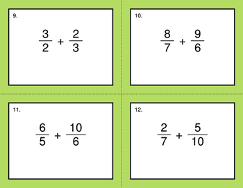 Adding Unlike Fractions - BINGO and Task Cards