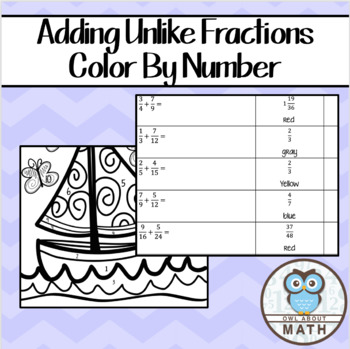 Adding Unlike Fractions Color By Number