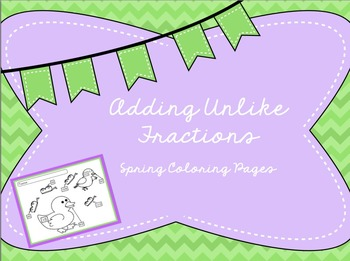 Adding Unlike Fractions - Coloring Page