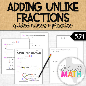 Adding Unlike Fractions: Scaffolded Notes & Practice
