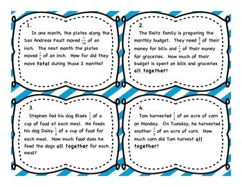 Adding Unlike Fractions Differentiated Word Problem Task Cards - No Regrouping