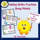 Adding Unlike Fractions Using Models Task Cards