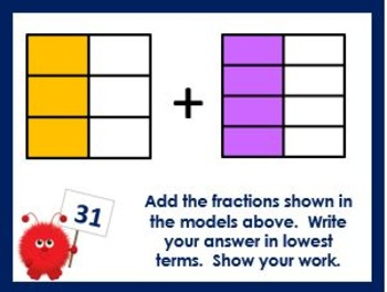 Adding Unlike Fractions Using Models Task Cards