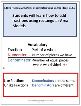 Adding Unlike Fractions Using the Area Model