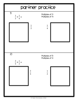 Adding Unlike Fractions through Modeling, 5.NF.A.1, Practice Packet and Quiz
