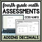 Adding Unlike Fractions Quiz, 4.NF.5 Assessment, Tenths & Hundredths Only