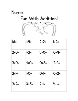Adding Up To 5--- 40 Addition Fluency Practice Sheets